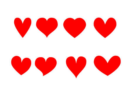 Red hearts icons set Isolated on white background. Vector Illustration. Ilustrace