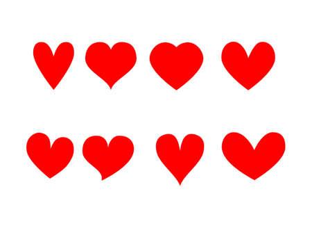 Red hearts icons set Isolated on white background. Vector Illustration. Illusztráció