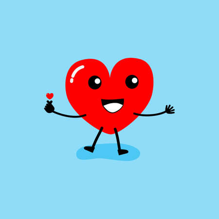 Happy Valentine's day card. feeling in love, Mini Hart. Two happy hearts character on blue background vector illustration.