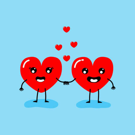 Happy Valentines day card. feeling in love, holding hands. Two happy hearts character on blue background vector illustration.