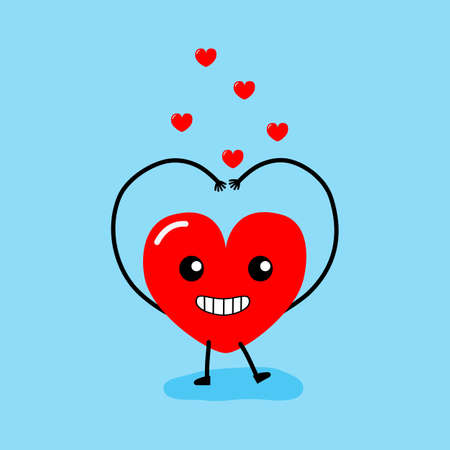 Happy Valentines day card. feeling in love, Sarang-hae-yo. Two happy hearts character on blue background vector illustration.