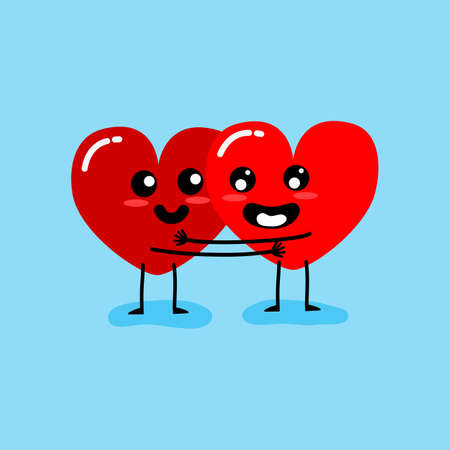 Happy Valentine's day card. feeling in love and hug. Two happy hearts character on blue background vector illustration. Ilustrace