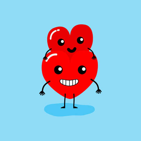 Happy Valentines day card. feeling in love, piggyback. Two happy hearts character on blue background vector illustration.