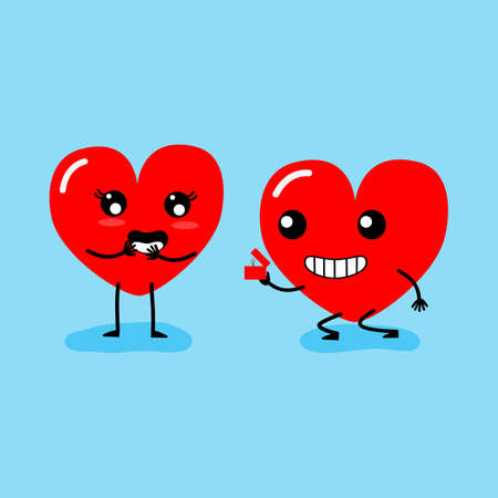 Happy Valentines day card. feeling in love ,propose. Two happy hearts character on blue background vector illustration.