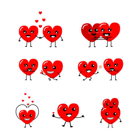 Happy Valentines day card. feeling in love, Give flowers, propose, piggyback, hug, holding hands and Mini Hart. Two happy hearts character on blue background vector illustration.