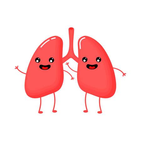 süßes und lustiges Symbol für die Anatomie der menschlichen Lunge. flache Zeichentrickfiguren-Stil. hell und süß. Isoliert auf weißem Hintergrund. Vektor-Illustration.