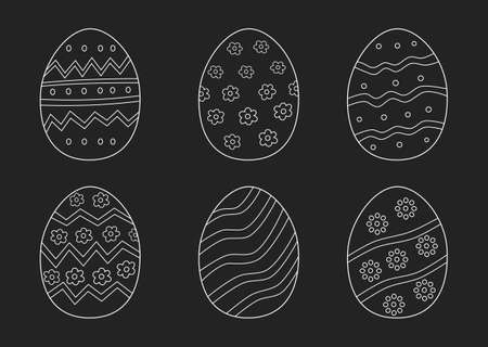 Easter eggs hand drawn white on black background. printing on fabric,gift wrap and wallpapers. Ilustrace