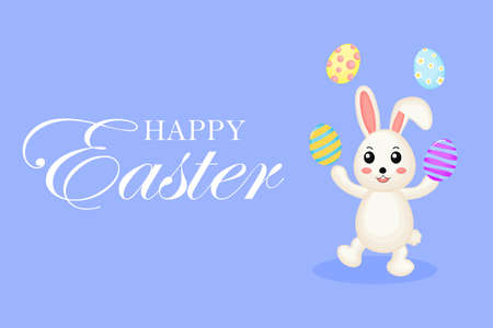 Happy Easter greeting card. with bunny and eggs. the season of joy. Animal wildlife cartoon character. Cute Rabbit. Isolated on blue background. Vector illustration.