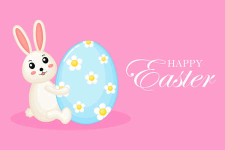 Happy Easter greeting card. with bunny and eggs. the season of joy. Animal wildlife cartoon character. Cute Rabbit. Isolated on pink background. Vector illustration.