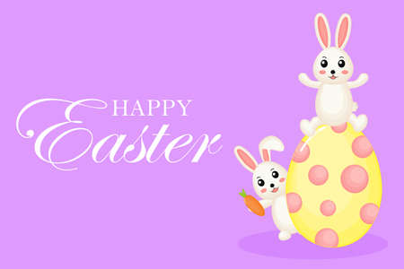 Happy Easter greeting card. with bunny and eggs. the season of joy. Animal wildlife cartoon character. Cute Rabbit. Isolated on purple background. Vector illustration.