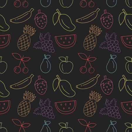 Colorful hand drawn fruit seamless pattern with black background. vector illustration.