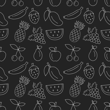 White hand drawn fruit seamless pattern with black background. vector illustration. 일러스트