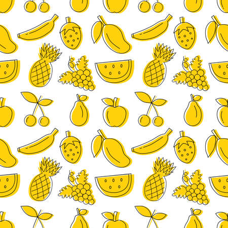 yellow hand drawn fruit seamless pattern with White background. vector illustration. 일러스트