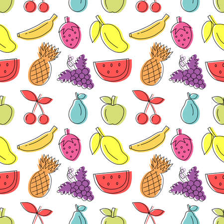 Colorful hand drawn fruit seamless pattern with White background. vector illustration. Ilustracja