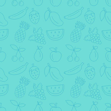 Colorful hand drawn fruit seamless pattern with blue background. vector illustration.