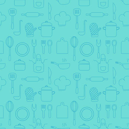 Cooking Foods seamless pattern and Kitchen outline blue icons set on blue background. Vector illustration.