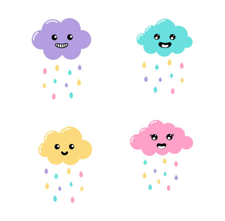 kawaii Pastel Cuts  Rain, clouds cartoon with Funny Faces isolated on White Background. Vector illustration.