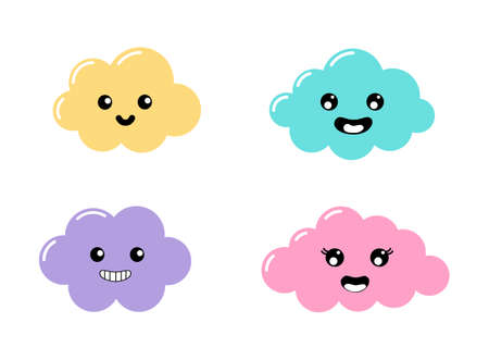 kawaii Pastel Cuts clouds cartoon with Funny Faces isolated on White Background. Vector illustration. Illusztráció