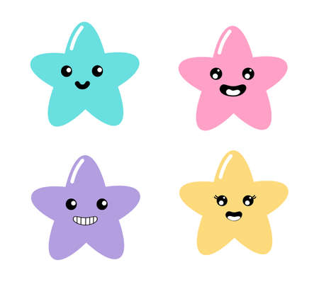 kawaii Collection emoticon Cute stars Pastel with Funny Faces cartoon isolated on White Background for kids. illustration Vector.