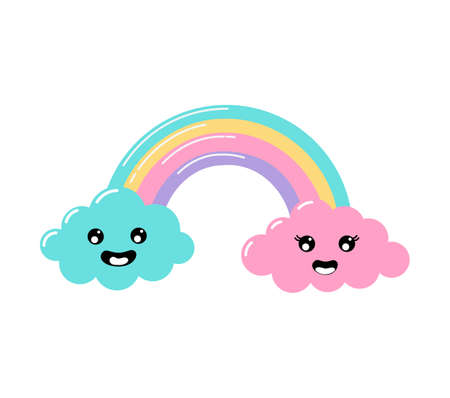 kawaii Pastel cuts weather rainbow and clouds cartoon with Funny Faces isolated on White Background. Vector illustration.