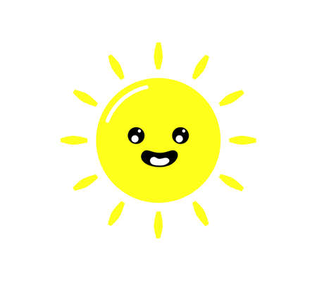 kawaii cuts sun cartoon with Funny Faces isolated on White Background. summer Vector illustration. Ilustrace
