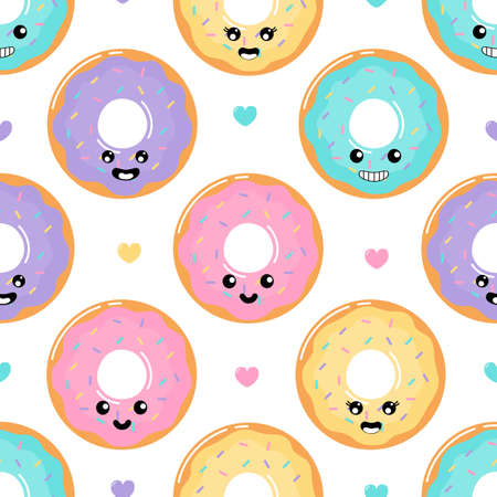 kawaii Cute Pastel donuts Sweet summer desserts with Funny Faces cartoon Seamless pattern with different types on White Background for cafe or restaurant. illustration Vector. Illustration