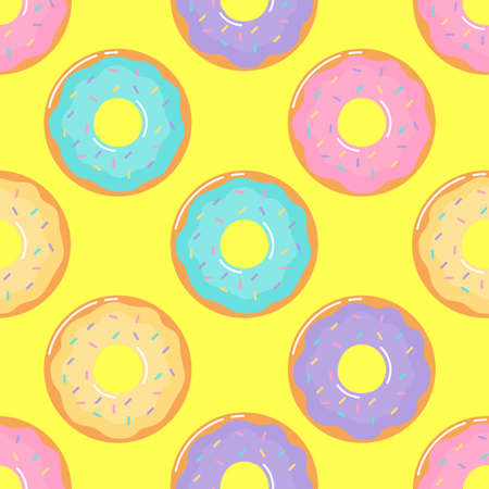 kawaii Cute Pastel donuts Sweet summer desserts Seamless pattern with different types on yellow Background for cafe or restaurant. illustration Vector.