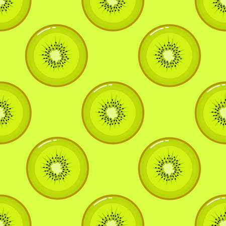 kiwi Seamless pattern and slices. fruit summer on green background. Elements for menu. Vector illustration.