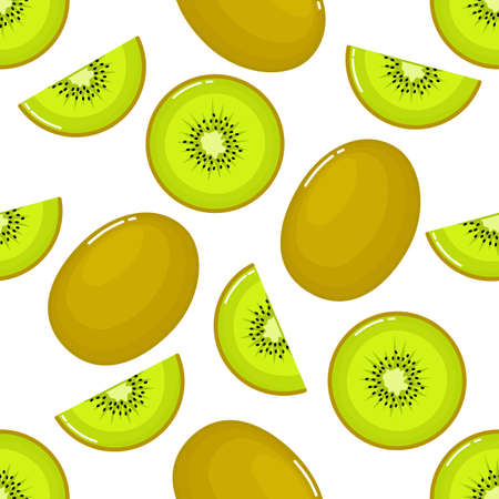 kiwi Seamless pattern and slices. fruit summer on white background. Elements for menu. Vector illustration.