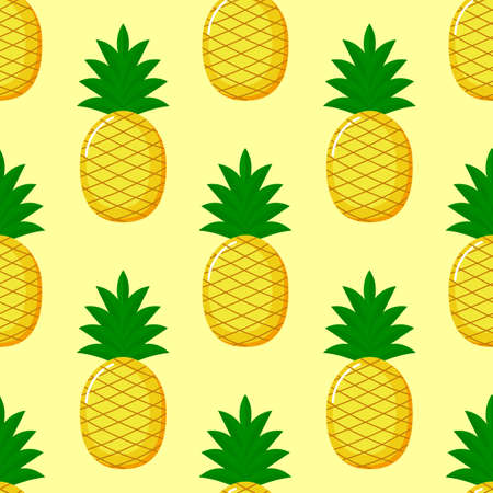 Pineapple Seamless pattern and slices. Summer fruit summer on yellow background. Elements for menu. tropical textile print. Vector illustration. Reklamní fotografie - 134761682