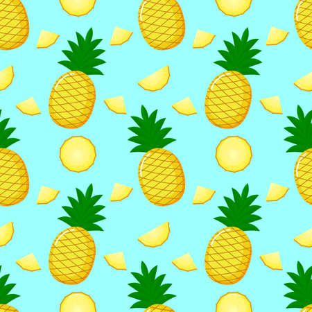 Pineapple Seamless pattern and slices. Summer fruit summer on blue background. Elements for menu. tropical textile print. Vector illustration. Иллюстрация