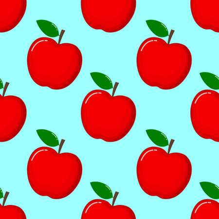 red Apple Seamless Pattern and slices. fruit summer on blue background. Elements for menu. poster, textile, greeting card design. Vector illustration.