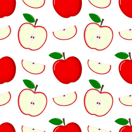 red Apple Seamless Pattern and slices. fruit summer on white background. Elements for menu. poster, textile, greeting card design. Vector illustration.