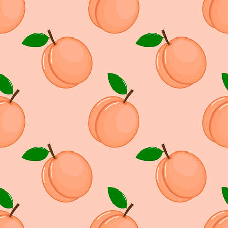 peaches seamless pattern. fresh fruit on pink background. vector illustrations.