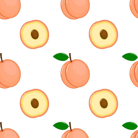 pink peaches seamless pattern. fresh fruit on white background. vector illustrations.