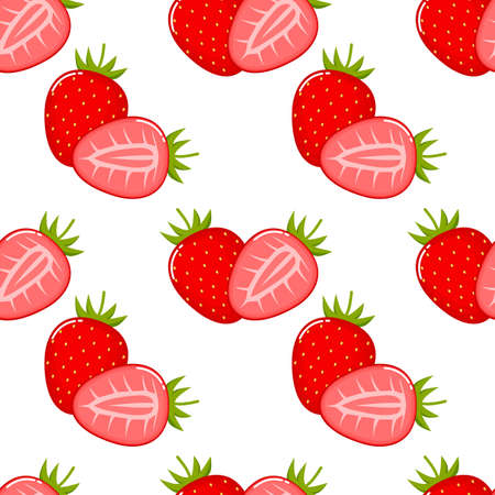 Strawberry fruit seamless pattern. Isolated on white background. Vector illustration.