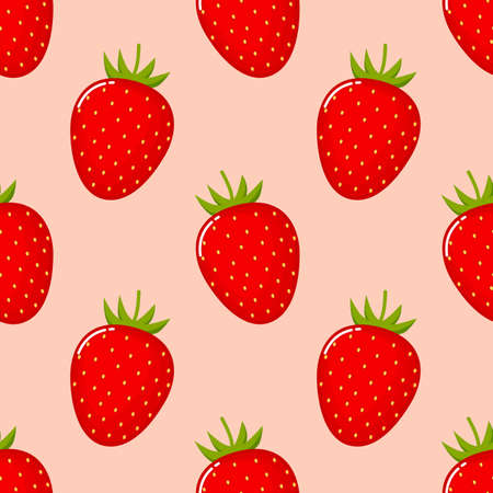 Strawberry fruit seamless pattern. Isolated on pink background. Vector illustration.