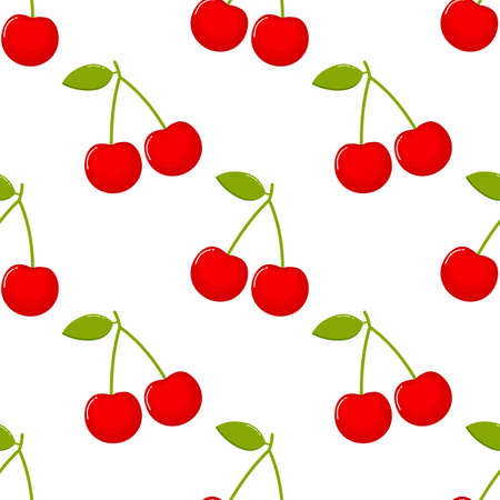 cherries Seamless pattern. fruit collection for juice packaging. textile, wrapping, wallpapers. isolated on white background.