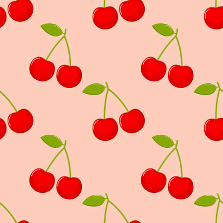 cherries Seamless pattern. fruit collection for juice packaging. textile, wrapping, wallpapers. isolated on pink background.