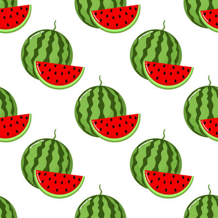 red watermelon slices Seamless Pattern. fruit collection for juice packaging. textile, wrapping, wallpapers. isolated on white background Ilustrace