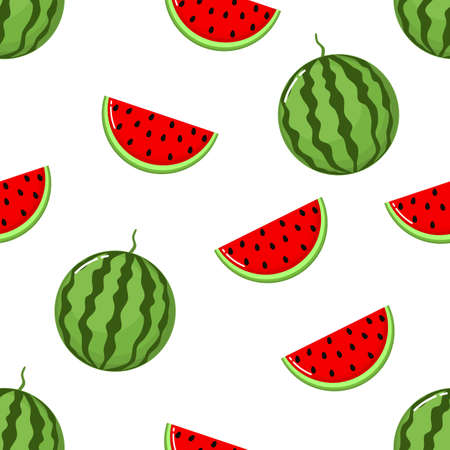 red watermelon slices Seamless Pattern. fruit collection for juice packaging. textile, wrapping, wallpapers. isolated on white background Illusztráció