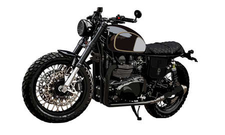 Classic scrambler motorcycle.Vintage custom. Motorbike vector illustration. Vetores