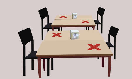 Social distance maintenance measures.Spacing for both tables and chairs.Prevent the spread of the virus from others. Vektorové ilustrace