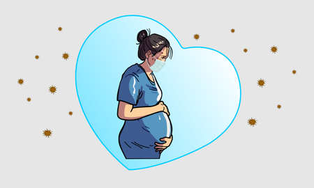 Pregnant women worry about the baby In the womb.The Coronavirus crisis (COVID-19) is spreading.Protect by wearing a mask and staying away from infected people. Illustration