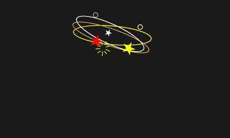Dizzy expression.Flying stars with orbit traces white,red,yellow color on black background.