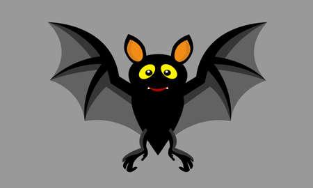 Cartoon Halloween cute small bat flying.Vector illustration.On gray color background.