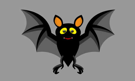 Cartoon Halloween cute small bat flying.Vector illustration.On gray color background.