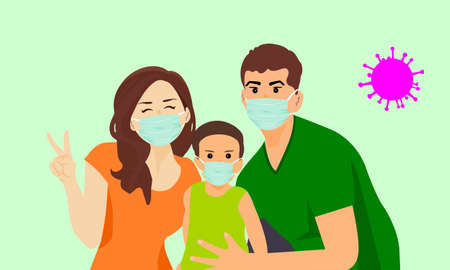 The family wears a mask to prevent the coronavirus outbreak (COVID-19). Mother's right hand shows V sign. Happy face.The father's right hand showed signs of protecting the child. Ilustrace