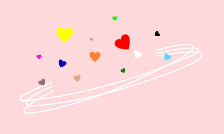 Many hearts of many colors floating above the curves. In the mood of being in love.