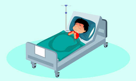 Sick children at the clicnic sleeps with pillows and blankets. Fever, trembling, measuring the temperature. Hot body, pale face. In the hospital on the patient's bed. 向量圖像